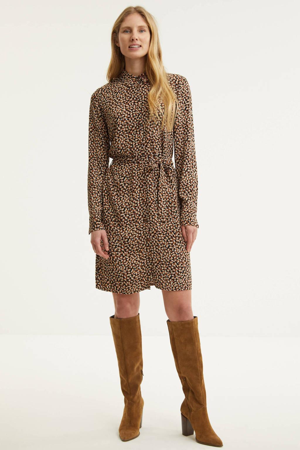 Another-Label blousejurk Frena met all over print en ceintuur bruin, Bruin