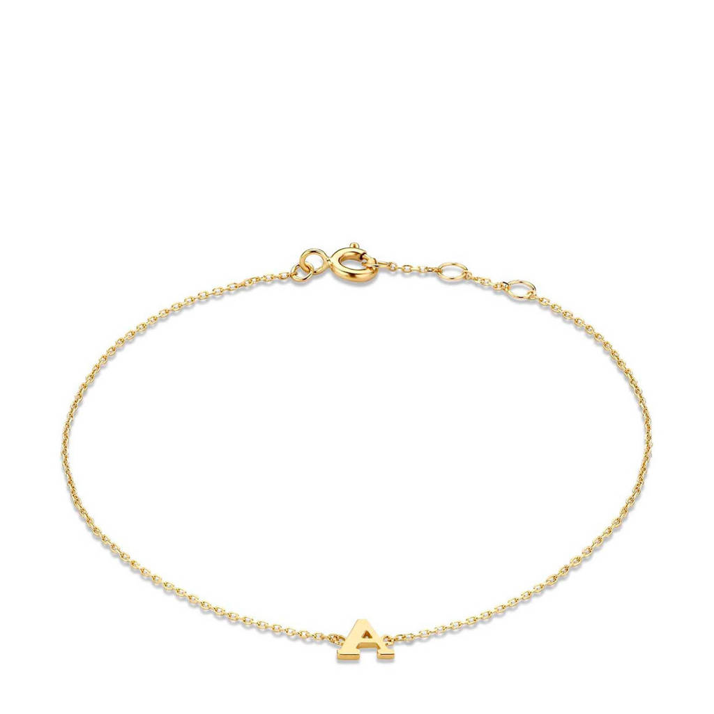 Isabel Bernard 14 karaat gouden armband letter O - IB1001202-O, Goudkleurig