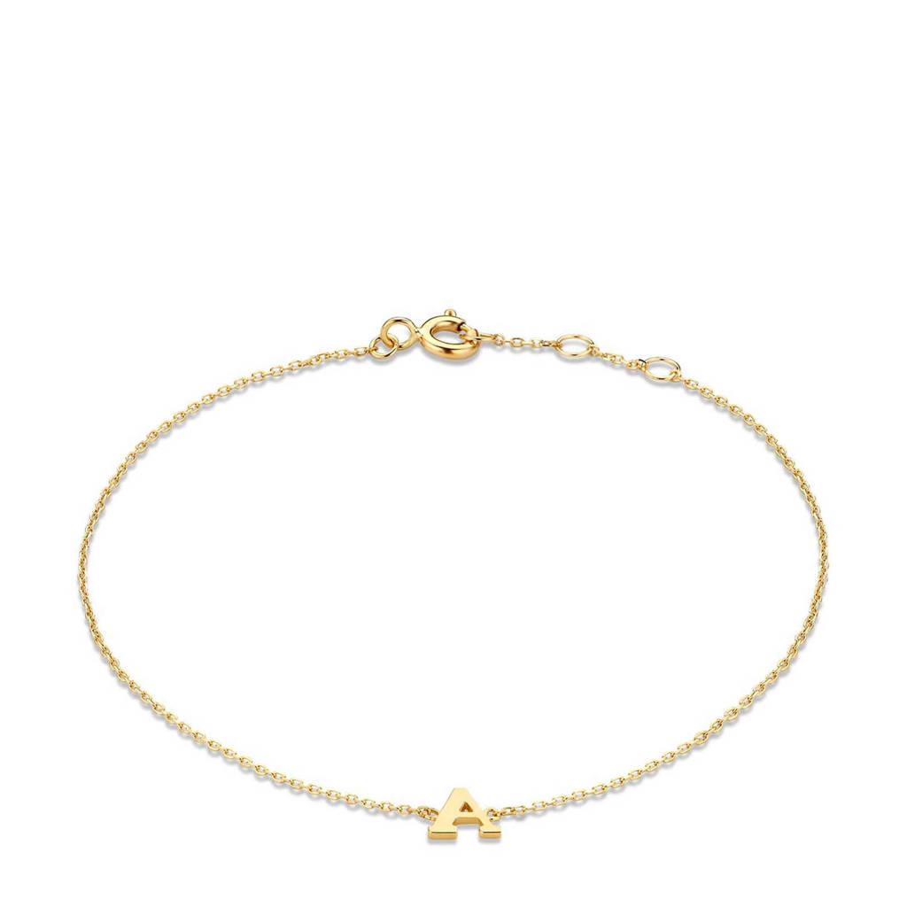 Isabel Bernard 14 karaat gouden armband letter A - IB1001202-A, Goudkleurig