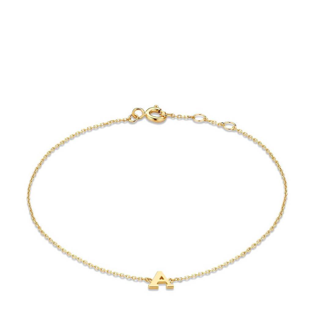 Isabel Bernard 14 karaat gouden armband letter B - IB1001202-B, Goudkleurig