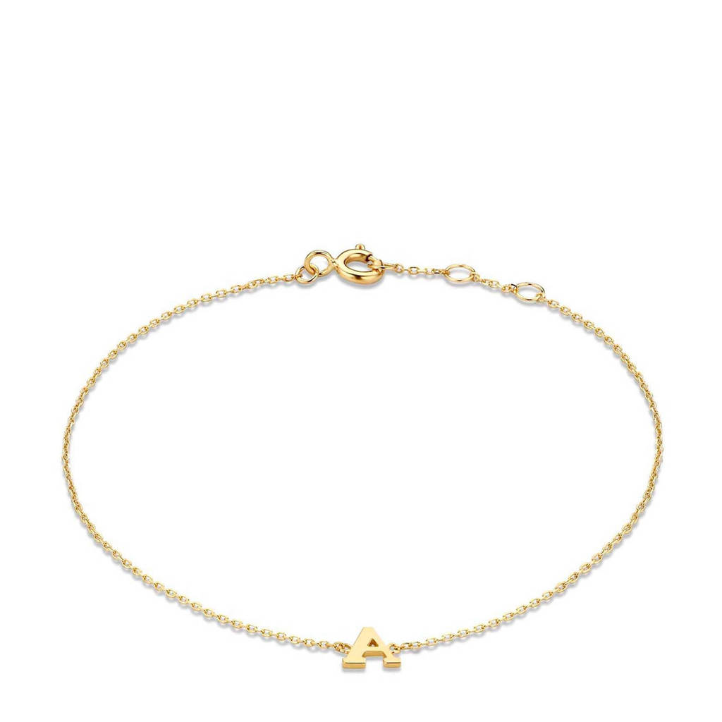 Isabel Bernard 14 karaat gouden armband letter P - IB1001202-P, Goudkleurig