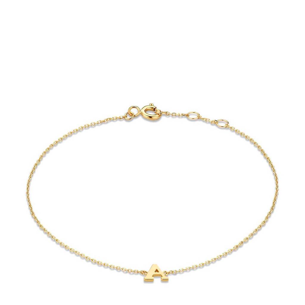 Isabel Bernard 14 karaat gouden armband letter V - IB1001202-V, Goudkleurig