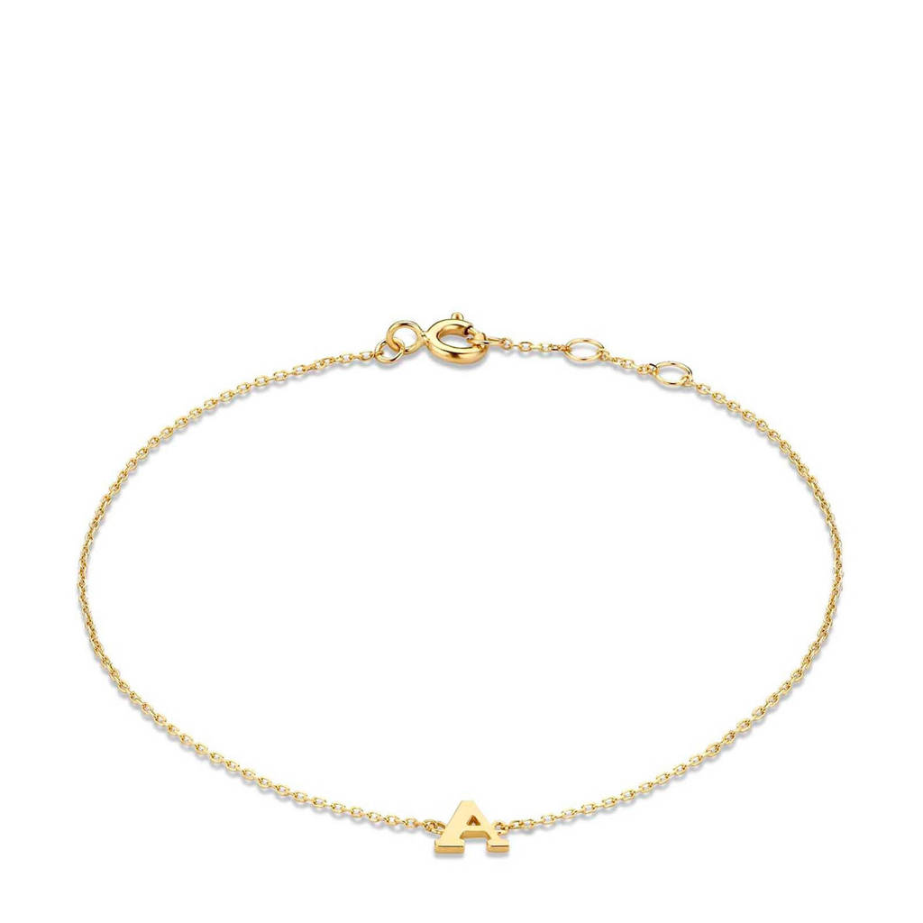 Isabel Bernard 14 karaat gouden armband letter R - IB1001202-R, Goudkleurig