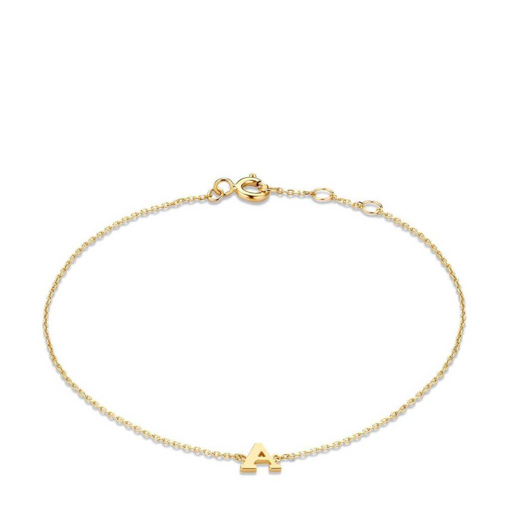 Isabel Bernard 14 karaat gouden armband letter H - IB1001202-H, Goudkleurig