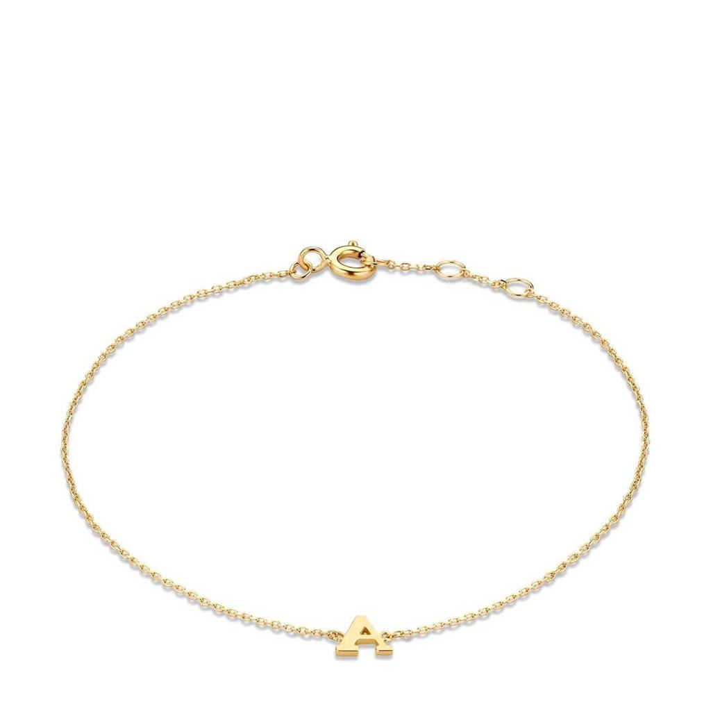 Isabel Bernard 14 karaat gouden armband letter X - IB1001202-X, Goudkleurig
