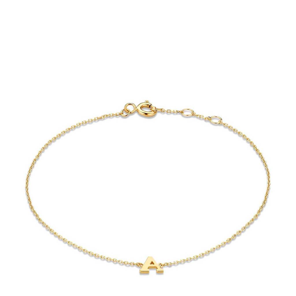 Isabel Bernard 14 karaat gouden armband letter W - IB1001202-W, Goudkleurig