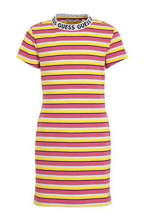 gestreepte jurk roze/geel