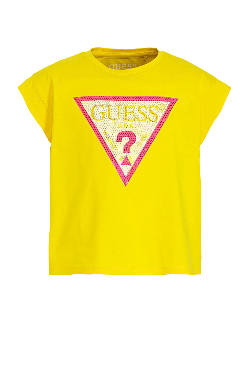GUESS T-shirt met logo geel, Geel