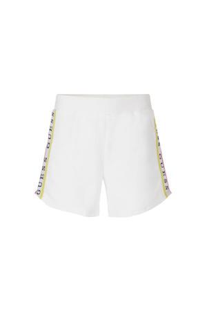 regular fit sweatshort met zijstreep wit/geel