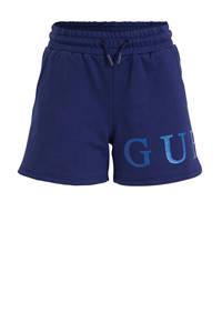 GUESS high waist sweatshort met logo blauw, Blauw