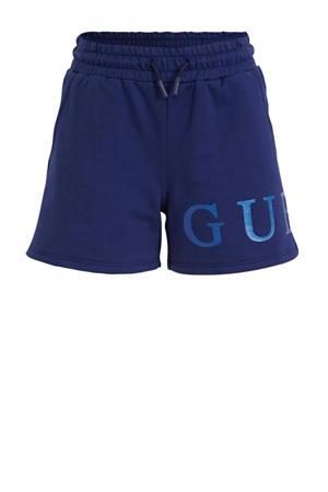 high waist sweatshort met logo blauw