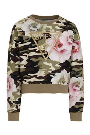 sweater met camouflageprint groen/wit/roze