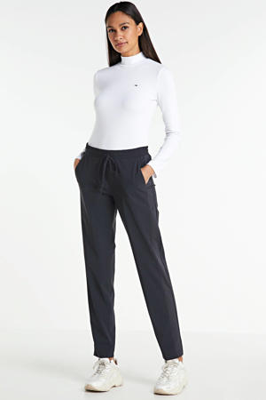 regular fit broek Valencia van travelstof met zijstreep zwart