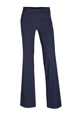 flared broek travelstof donkerblauw