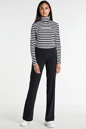 flared broek Siena van travelstof zwart