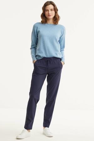 slim fit broek travelstof donkerblauw