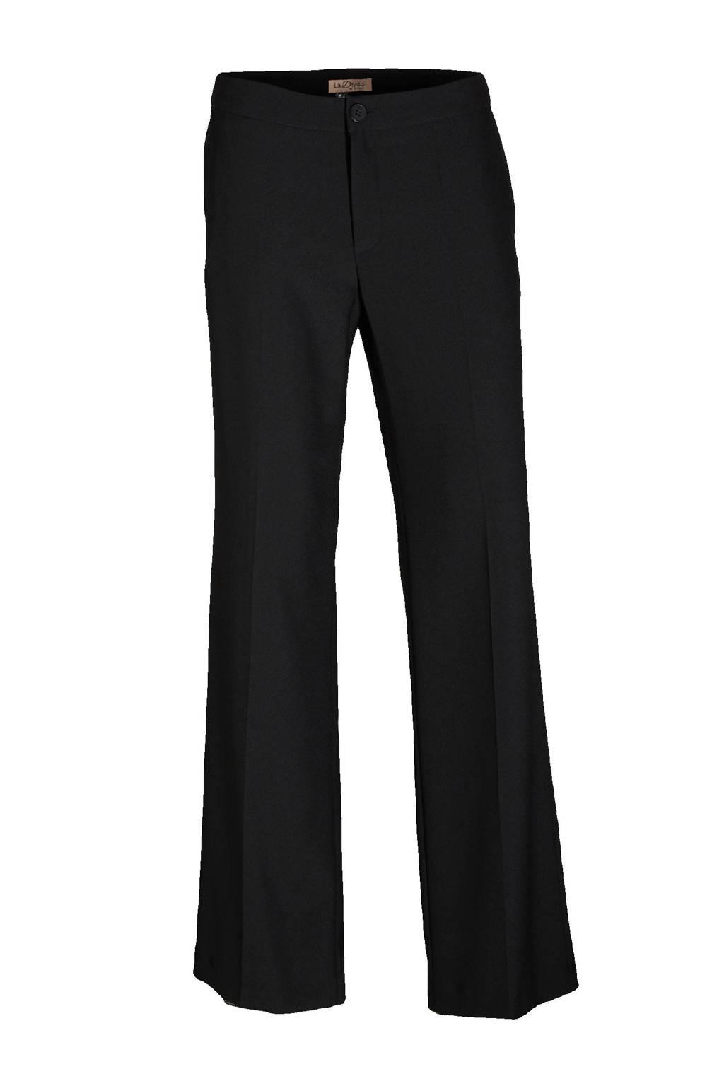 LaDress straight fit broek crepe satin zwart, Zwart