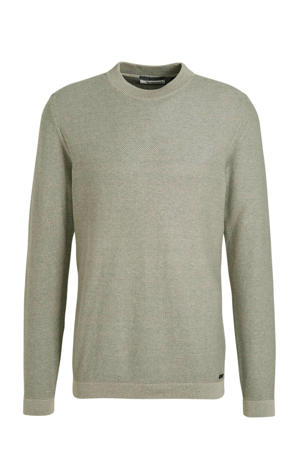 fijngebreide trui grijsgroen