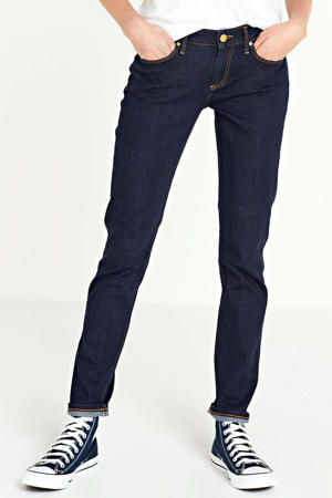 low waist slim fit jeans met biologisch katoen dark denim