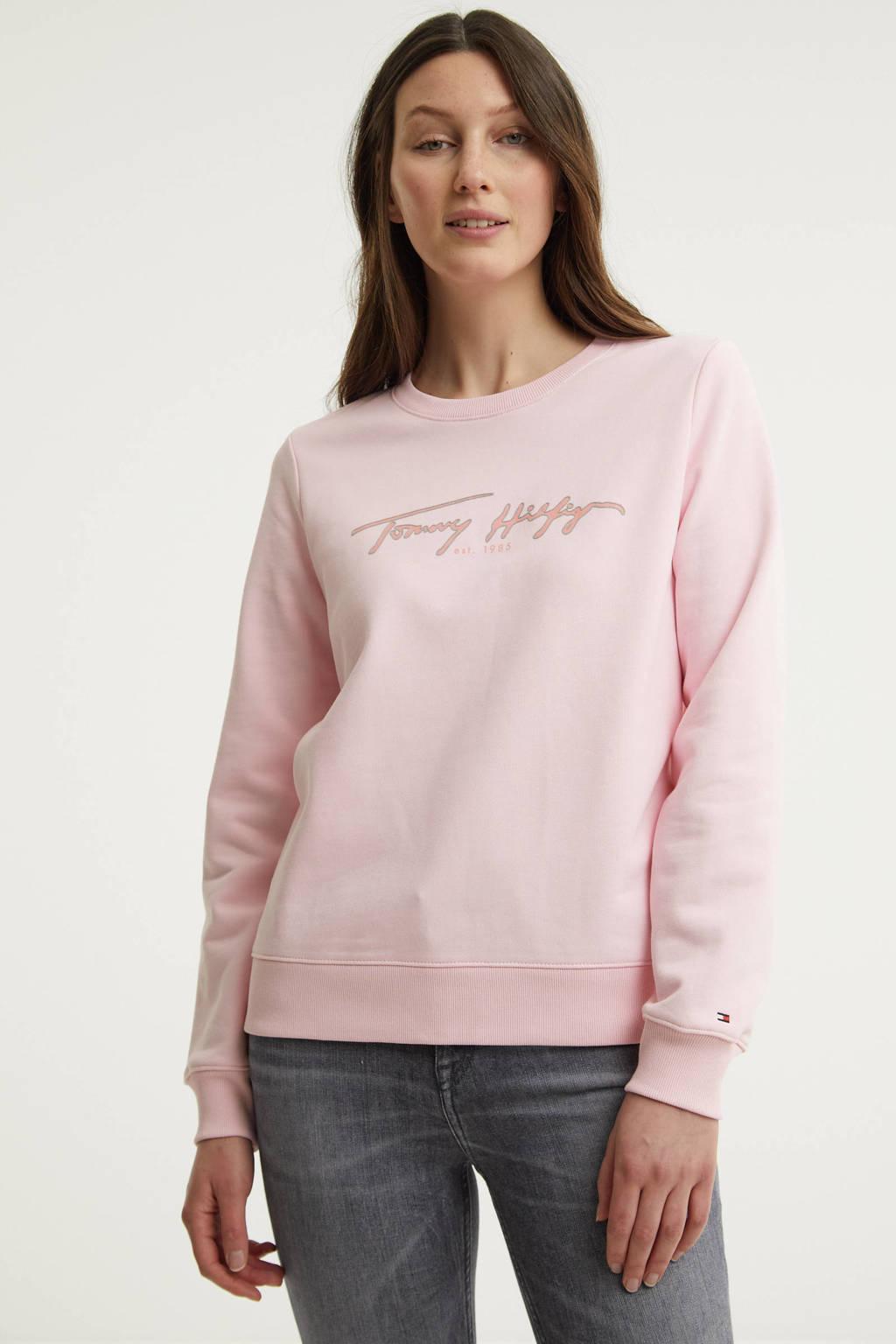Tommy Hilfiger sweater van biologisch katoen lichtroze, Lichtroze