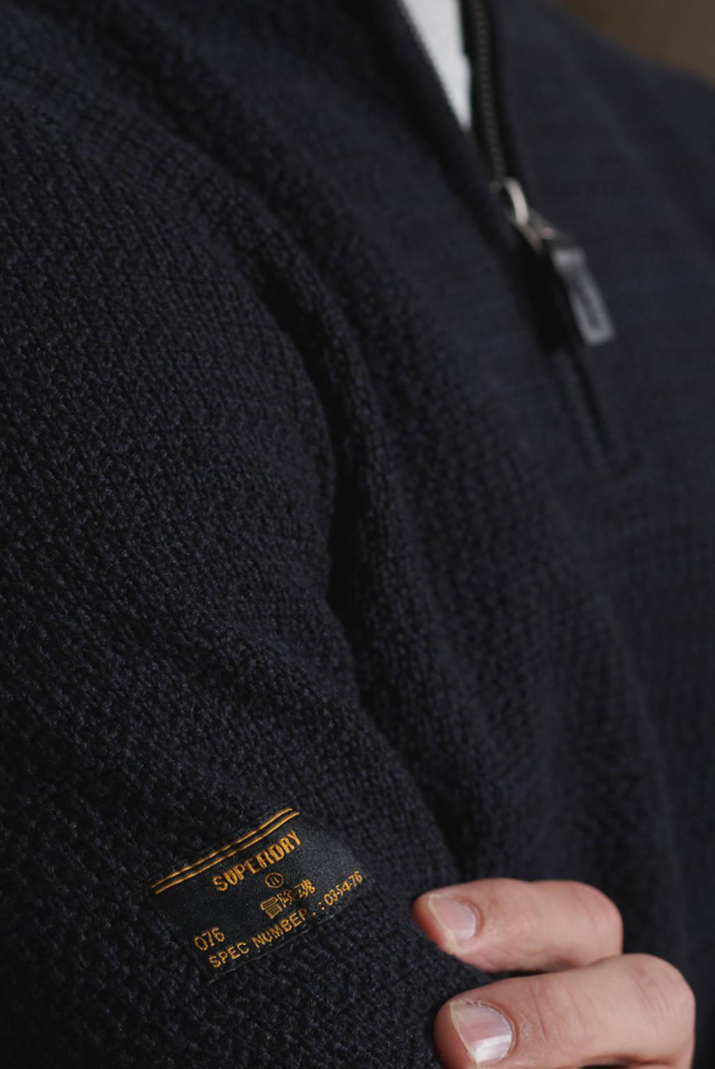 Superdry trui Keystone Henley donkerblauw, Donkerblauw