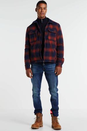 geruit wollen regular fit overhemd brique/donkerblauw