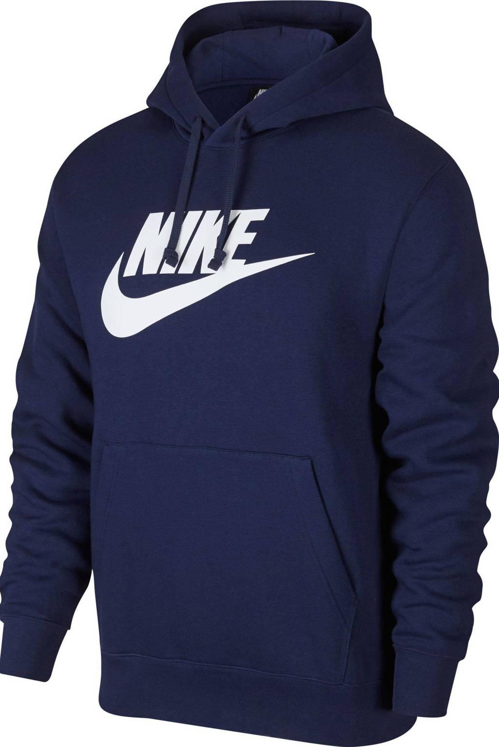 Nike hoodie donkerblauw/wit, Donkerblauw/wit