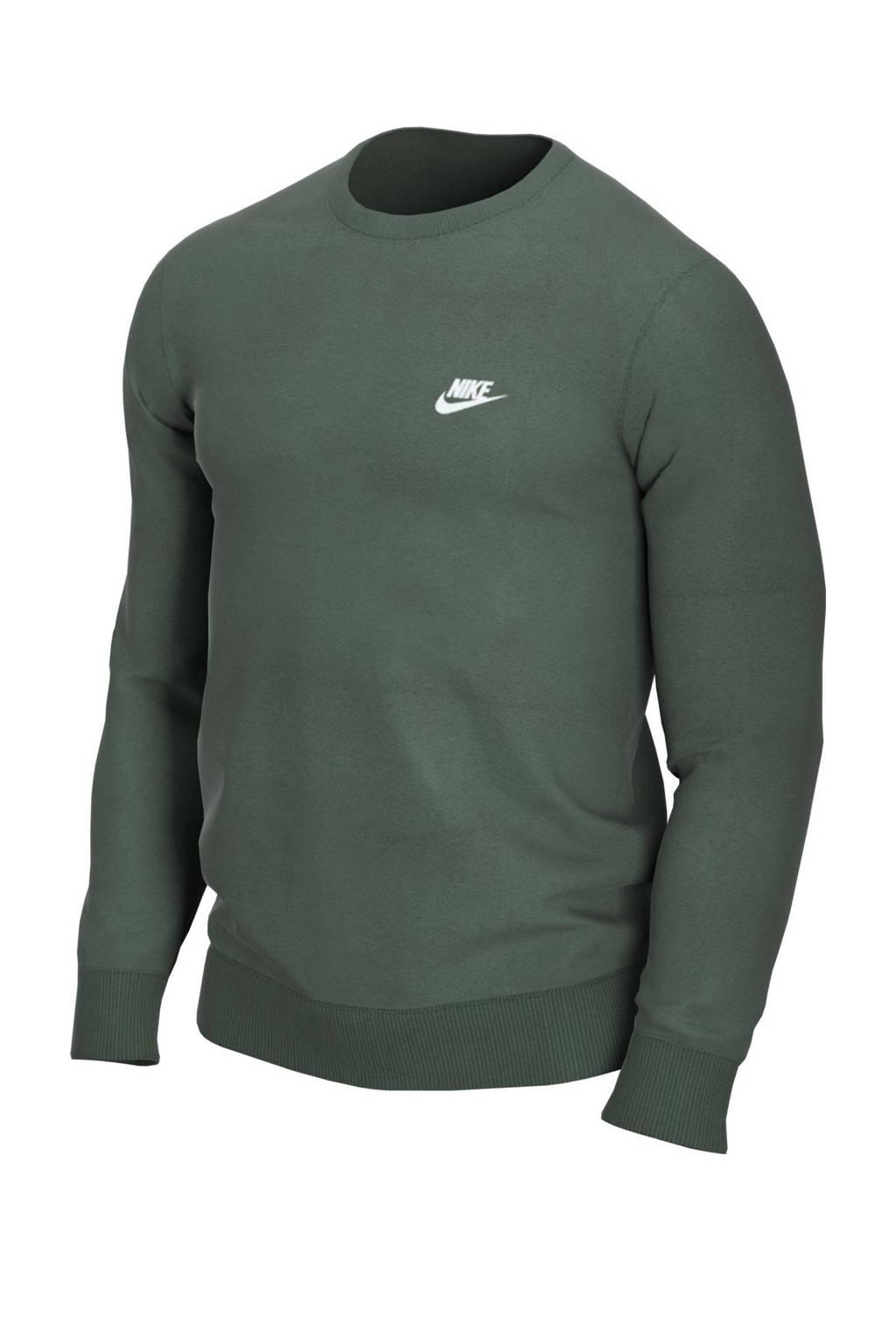 Nike sweater donkergroen, Donkergroen/wit