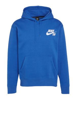 hoodie kobaltblauw/wit