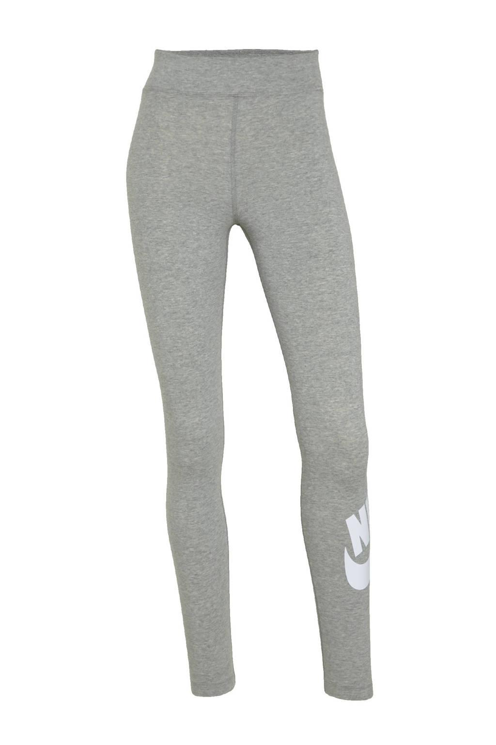 Nike legging grijs/wit, Grijs melange/wit
