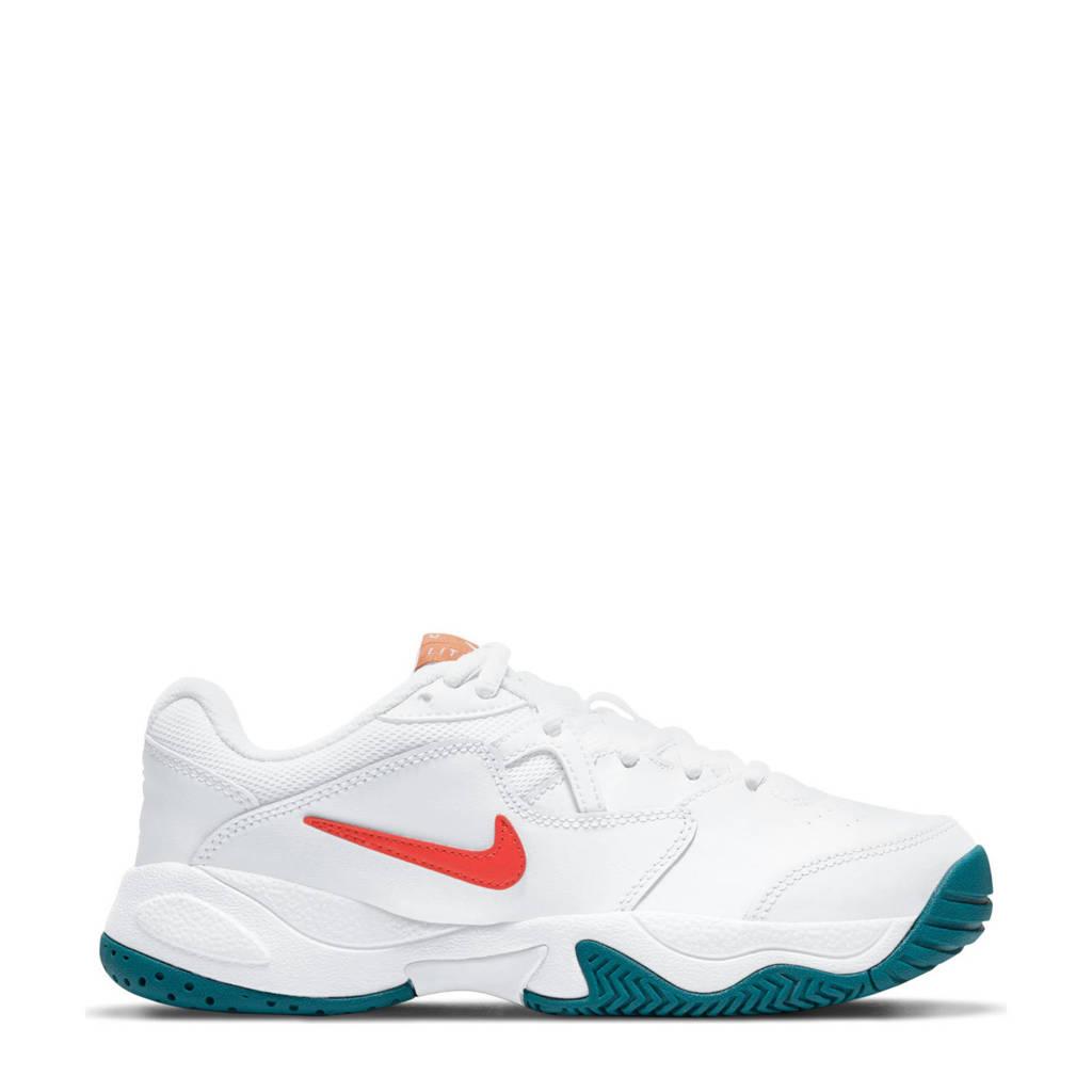 Nike Jr. Court Lite 2 sportschoenen wit/oranje/petrol, Wit/oranje/petrol