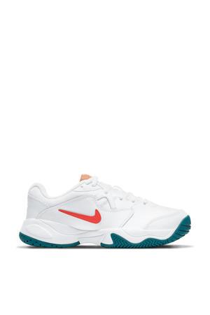 Jr. Court Lite 2 sportschoenen wit/oranje/petrol