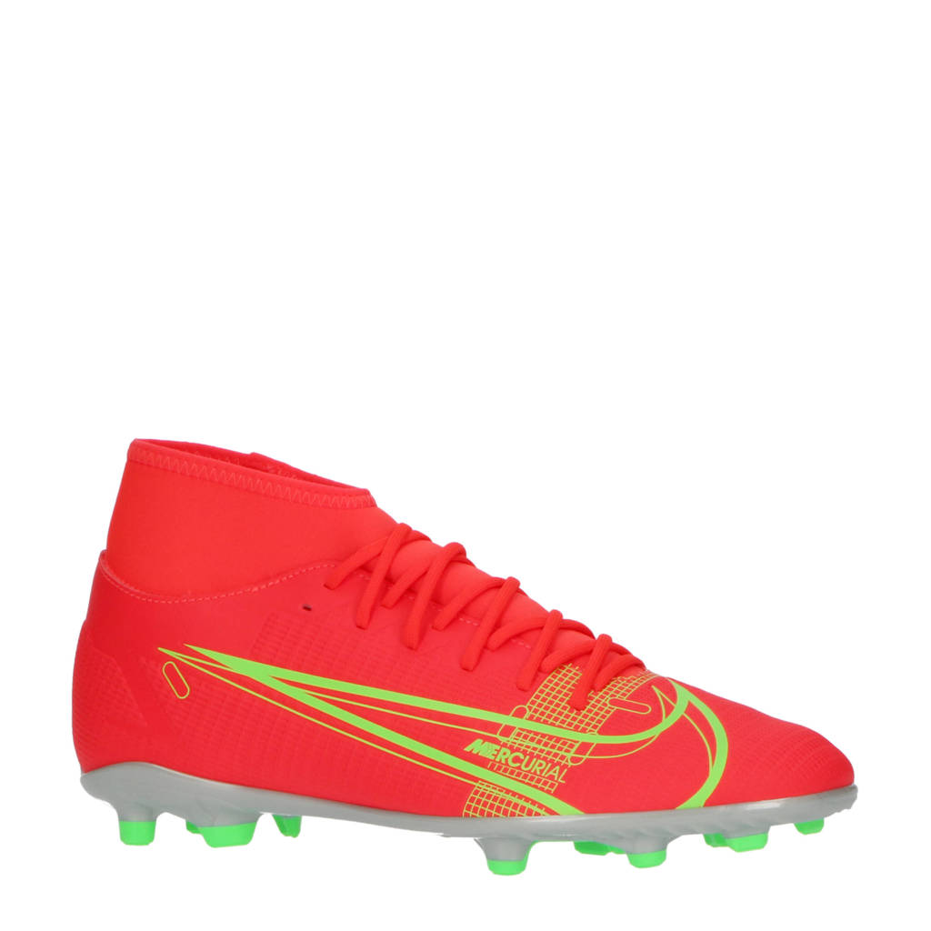 Nike Superfly 8 Club FG/MG Sr. voetbalschoenen rood/zilver, Rood/zilver