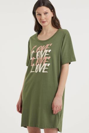 nachthemd met printopdruk olijfgroen