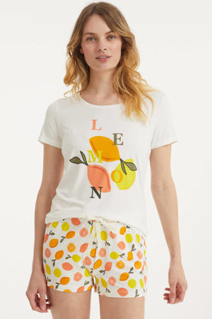 shortama met printopdruk wit/oranje/geel