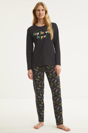 pyjama met printopdruk donkergrijs