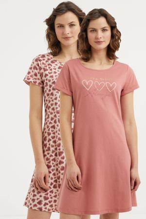 nachthemd met all over print (set van 2) roze/rood