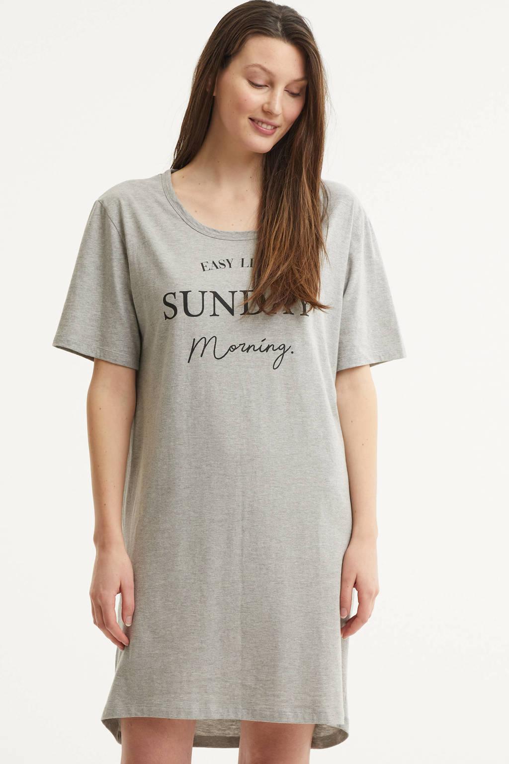 Dreamcovers nachthemd met printopdruk grijs, Grijs