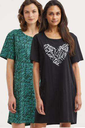 nachthemd met all over print (set van 2) zwart/groen