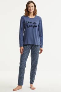 Dreamcovers pyjama met printopdruk blauw, Blauw