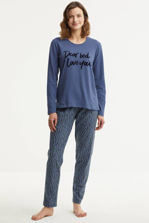 pyjama met printopdruk blauw