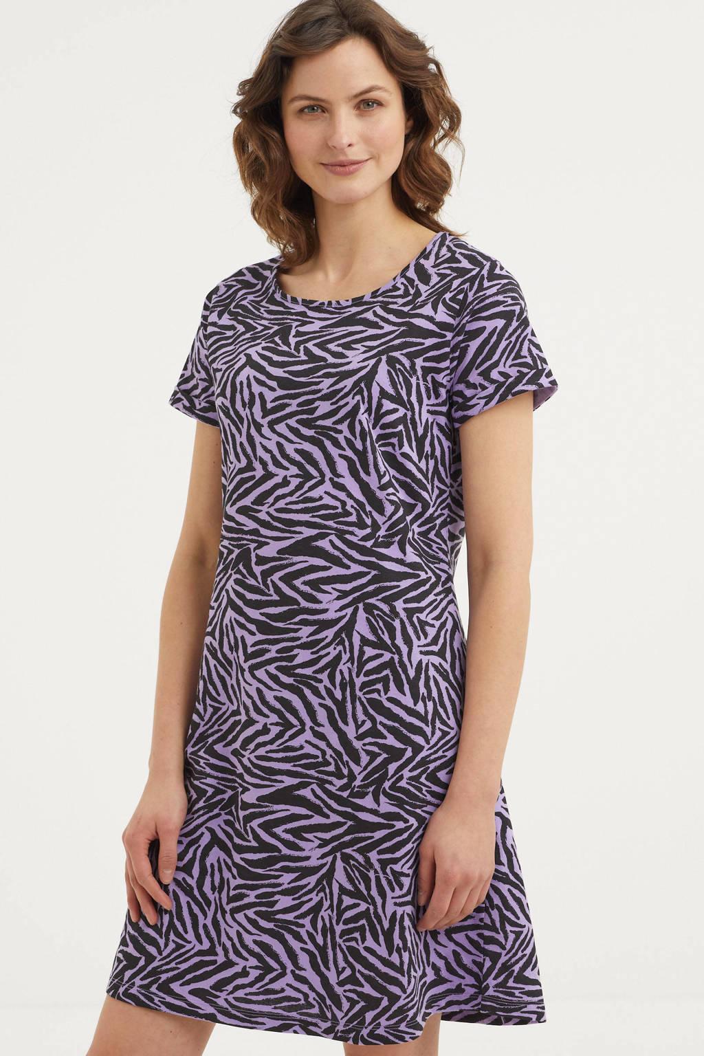 Dreamcovers nachthemd met zebraprint lila/zwart, Lila/zwart