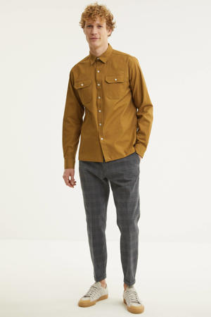 slim fit overhemd camel