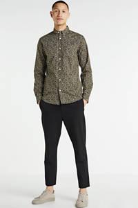 Redefined Rebel slim fit overhemd Fox met all over print beige, Beige