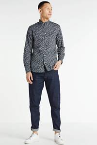 Redefined Rebel gebloemd slim fit overhemd Fox zwart, Zwart