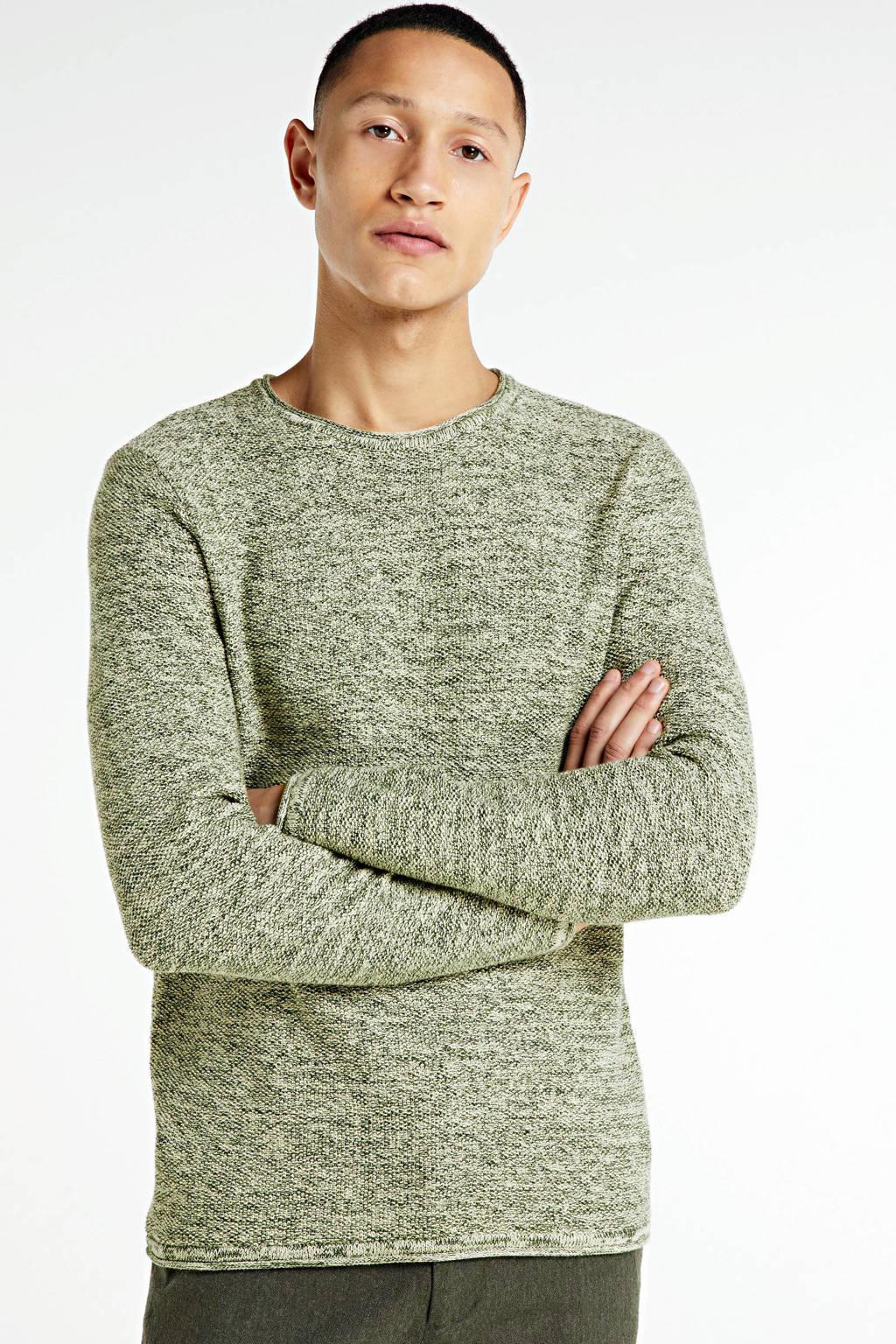 Redefined Rebel gemêleerde fijngebreide trui Maximo groen, Groen