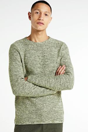 gemêleerde fijngebreide trui Maximo groen