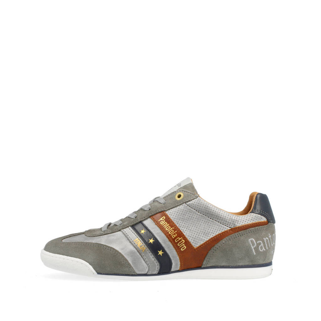 Pantofola d'Oro Vasto Uomo Low  leren sneakers grijs, Grijs/Cognac/Blauw