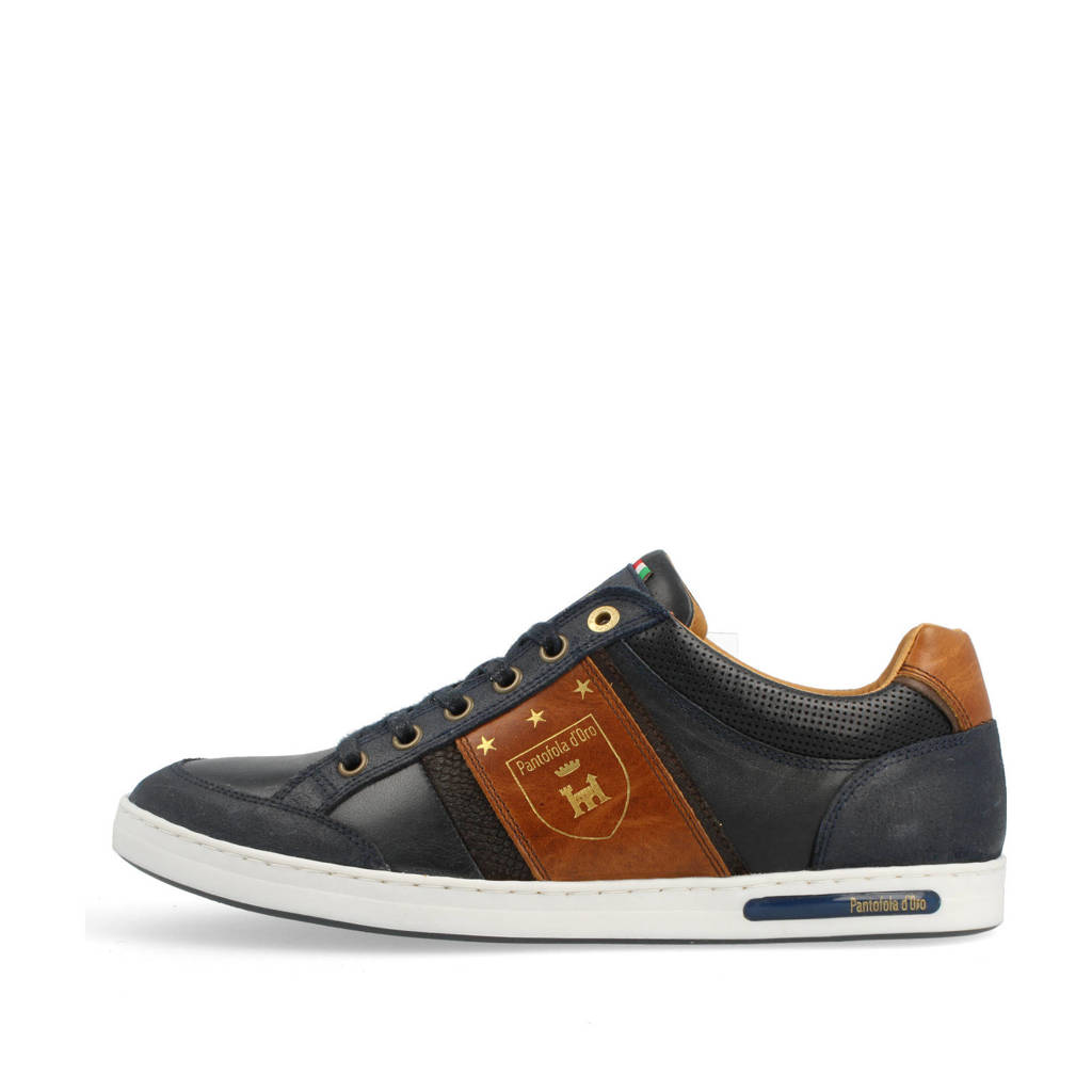 Pantofola d'Oro Mondovi Uomo Low  leren sneakers donkerblauw, Donkerblauw/Cognac