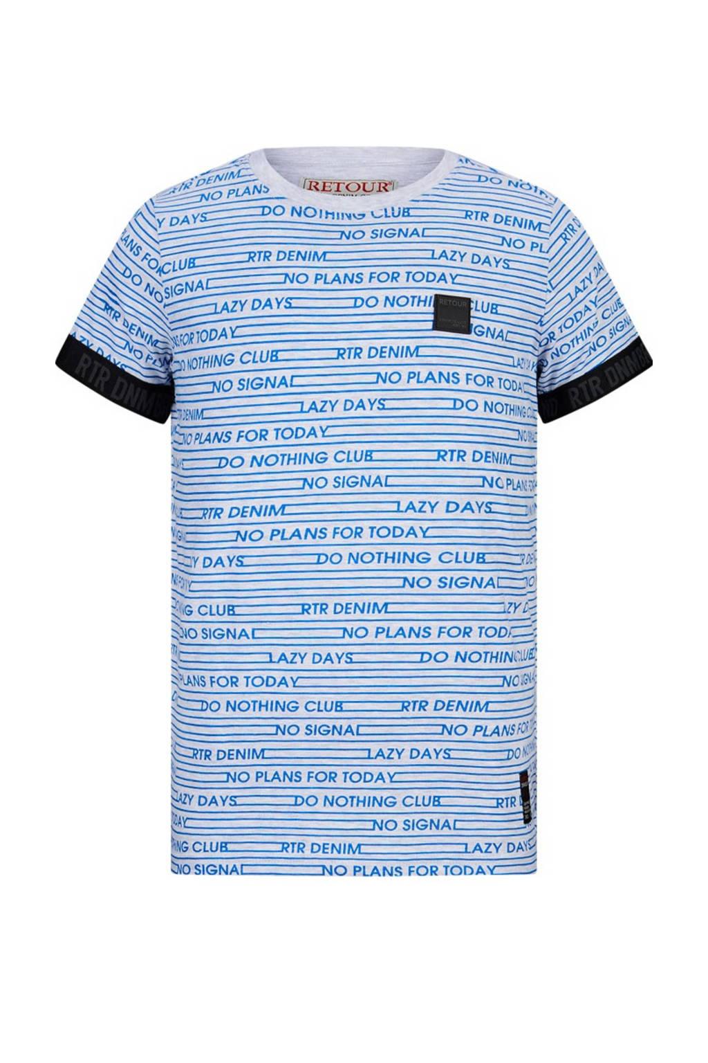 Retour Denim T-shirt Morris van biologisch katoen blauw/lichtgrijs melange, Blauw/lichtgrijs melange